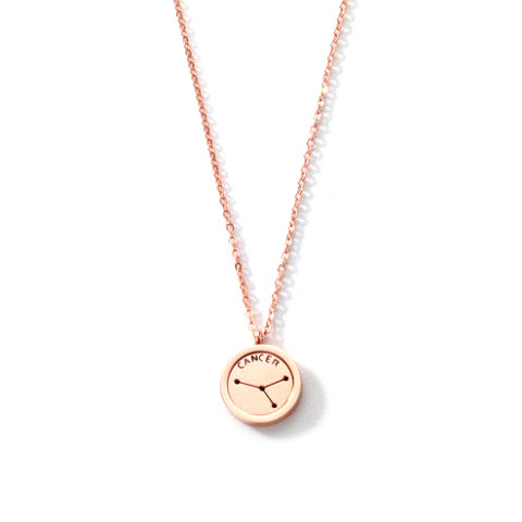 CANCER ROUND PENDANT ROSE GOLD NECKLACE in Stainless Steel - Statelight
