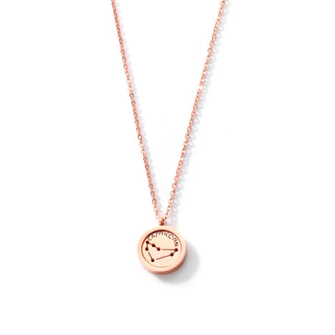 CAPRICORN ROUND PENDANT ROSE GOLD NECKLACE in Stainless Steel - Statelight