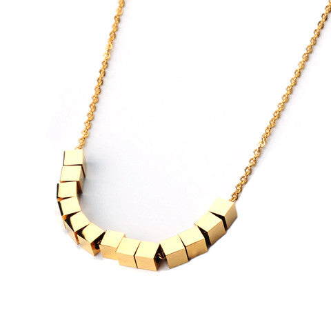 ISABELLA GOLD CUBE NECKLACE - Statelight