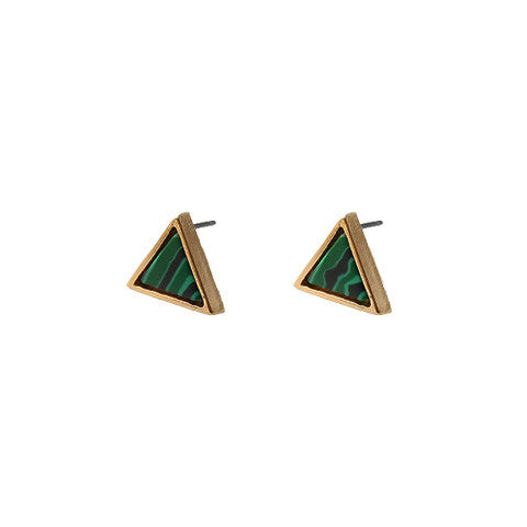 GALE FOREST GREEN TRIANGLE EARRINGS - Statelight