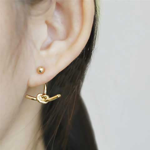 CELINE DROP-KNOT GOLD EAR CUFFS - Statelight