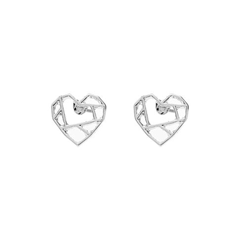 RUBY ORIGAMI SILVER HEART EARRINGS - Statelight