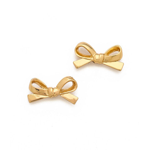 CLAIRE SKINNY BOW GOLD EAR STUDS - Statelight