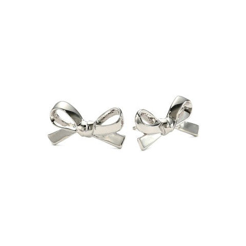 CLAIRE SKINNY BOW SILVER EAR STUDS - Statelight