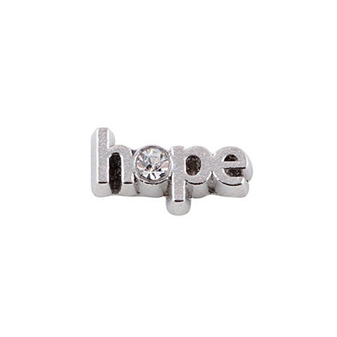 SILVER SCRIPTED HOPE CRYSTAL CHARM - Statelight