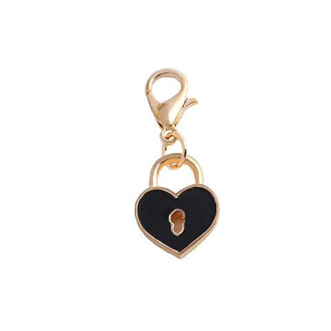 HEART-SHAPED BLACK PADLOCK GOLD DANGLE - Statelight