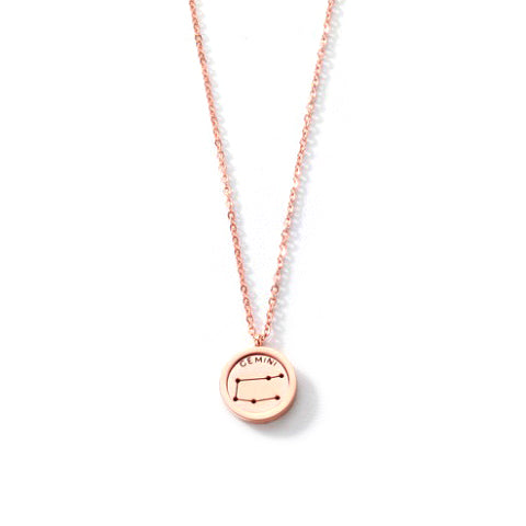 GEMINI ROUND PENDANT ROSE GOLD NECKLACE in Stainless Steel - Statelight
