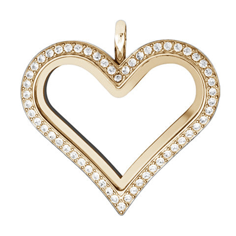 GOLD STAINLESS STEEL POLARITY HEART LOCKET WITH CRYSTALS - Statelight