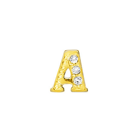 GOLD CRYSTAL LETTER A CHARM - Statelight