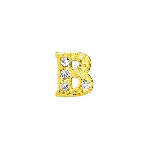 GOLD CRYSTAL LETTER B CHARM - Statelight