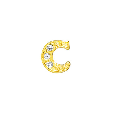 GOLD CRYSTAL LETTER C CHARM - Statelight