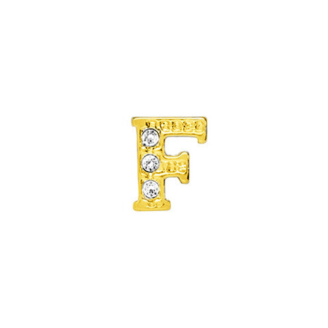GOLD CRYSTAL LETTER F CHARM - Statelight