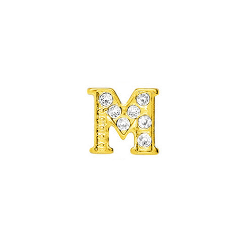 GOLD CRYSTAL LETTER M CHARM - Statelight