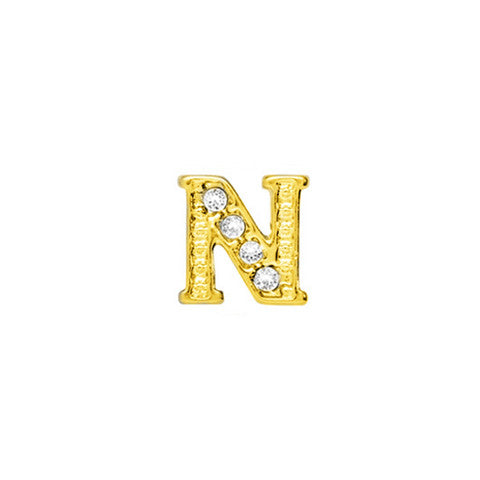 GOLD CRYSTAL LETTER N CHARM - Statelight