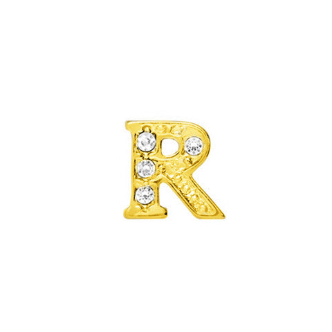 GOLD CRYSTAL LETTER R CHARM - Statelight