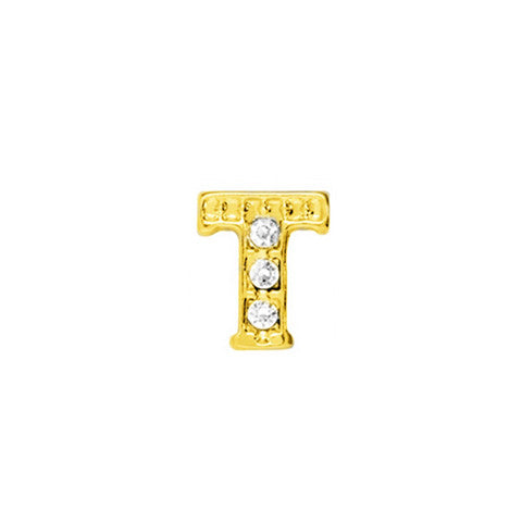 GOLD CRYSTAL LETTER T CHARM - Statelight