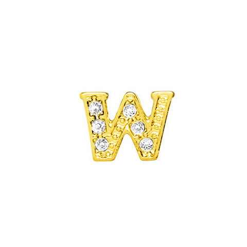 GOLD CRYSTAL LETTER W CHARM - Statelight