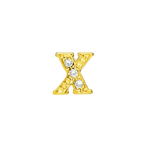 GOLD CRYSTAL LETTER X CHARM - Statelight