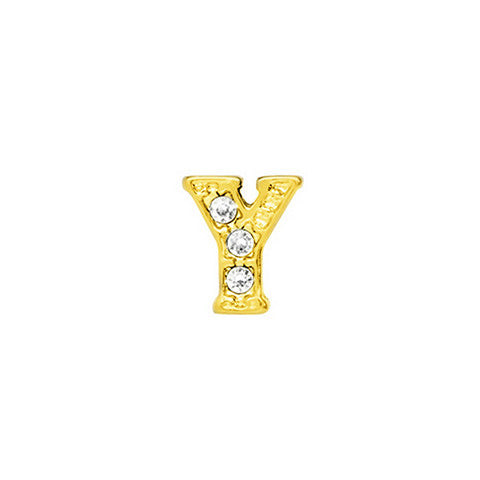 GOLD CRYSTAL LETTER Y CHARM - Statelight