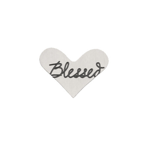 """BLESSED"" INSCRIPTION SILVER STAINLESS STEEL HEART LOCKET PLATE - Statelight"