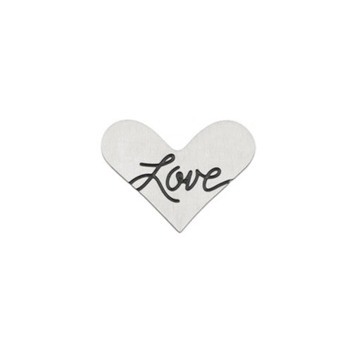 """LOVE"" INSCRIPTION SILVER STAINLESS STEEL HEART LOCKET PLATE - Statelight"