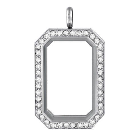 SILVER STAINLESS STEEL POLARITY HERITAGE LOCKET WITH CRYSTALS - Statelight