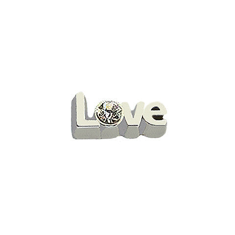 SILVER SCRIPTED LOVE CRYSTAL CHARM - Statelight