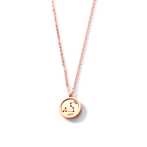 LEO ROUND PENDANT ROSE GOLD NECKLACE in Stainless Steel - Statelight