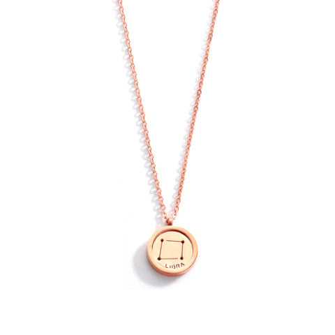 LIBRA ROUND PENDANT ROSE GOLD NECKLACE in Stainless Steel - Statelight
