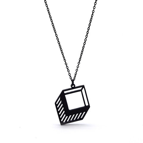 ZAIRE GEOMETRIC MATT BLACK NECKLACE - Statelight