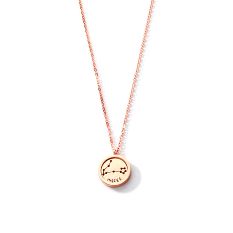 PISCES ROUND PENDANT ROSE GOLD NECKLACE in Stainless Steel - Statelight