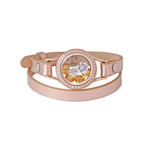 ROSE GOLD GENUINE LEATHER LOCKET WRAP - Statelight