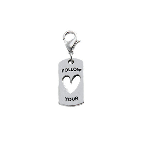 """FOLLOW YOUR HEART"" SILVER DANGLE - Statelight"