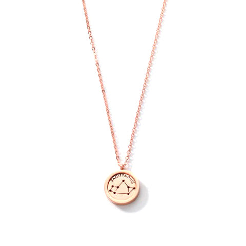 SAGITTARIUS ROUND PENDANT ROSE GOLD NECKLACE in Stainless Steel - Statelight