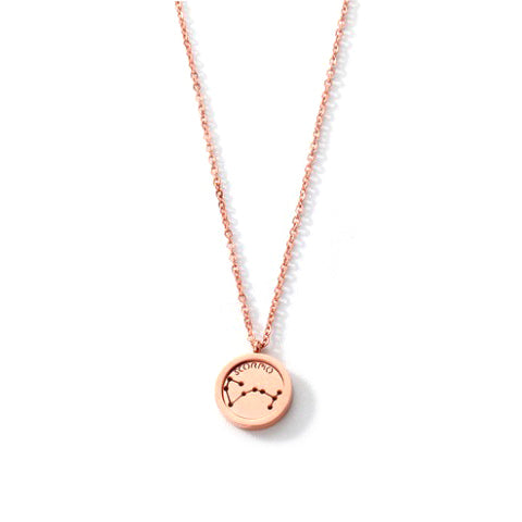 SCORPIO ROUND PENDANT ROSE GOLD NECKLACE in Stainless Steel - Statelight