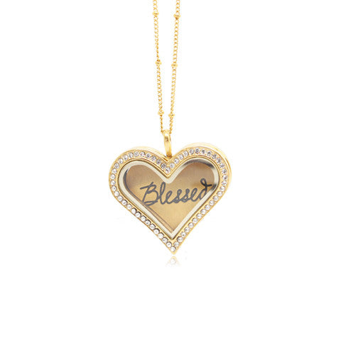 """BLESSED"" INSCRIPTION GOLD STAINLESS STEEL HEART LOCKET PLATE - Statelight"