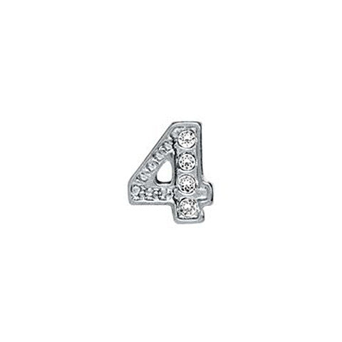 SILVER CRYSTAL NUMBER 4 CHARM - Statelight