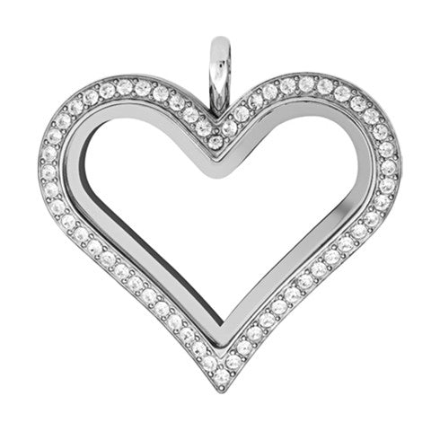 SILVER STAINLESS STEEL POLARITY HEART LOCKET WITH CRYSTALS - Statelight