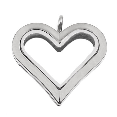 SILVER STAINLESS STEEL POLARITY HEART LOCKET - Statelight