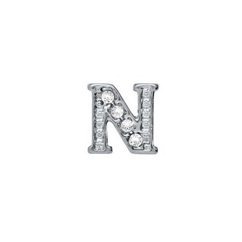SILVER CRYSTAL LETTER N CHARM - Statelight
