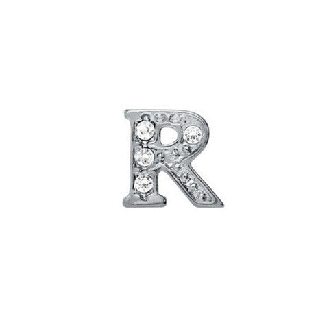 SILVER CRYSTAL LETTER R CHARM - Statelight