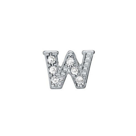 SILVER CRYSTAL LETTER W CHARM - Statelight