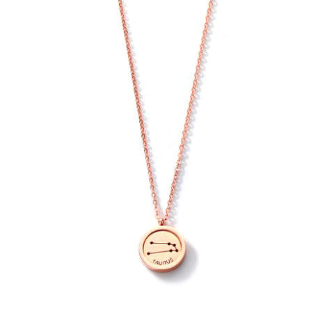 TAURUS ROUND PENDANT ROSE GOLD NECKLACE in Stainless Steel - Statelight