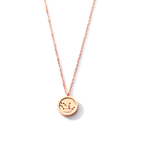 VIRGO ROUND PENDANT ROSE GOLD NECKLACE in Stainless Steel - Statelight