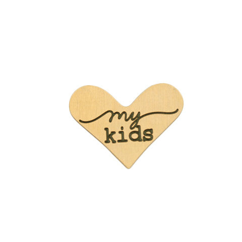 """MY KIDS"" INSCRIPTION GOLD STAINLESS STEEL HEART LOCKET PLATE - Statelight"