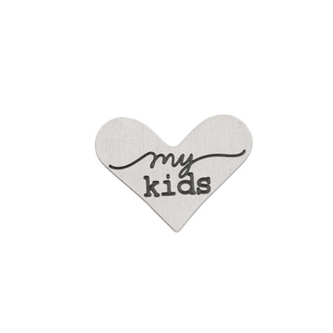 """MY KIDS"" INSCRIPTION SILVER STAINLESS STEEL HEART LOCKET PLATE - Statelight"