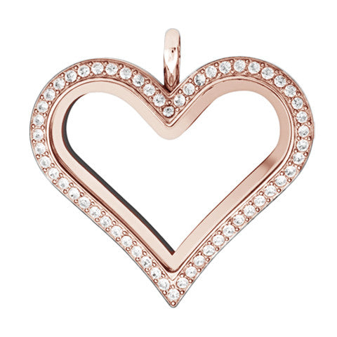 ROSE GOLD STAINLESS STEEL POLARITY HEART LOCKET WITH CRYSTALS - Statelight