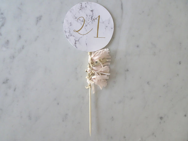 '21' Blush + Gold Tassel Cake Topper