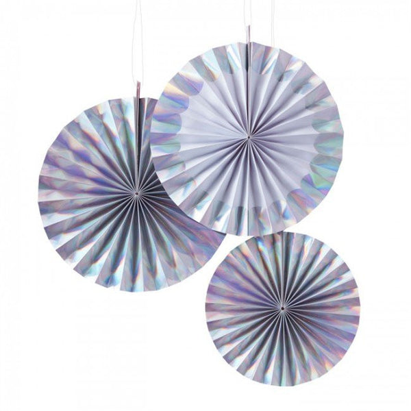 Iridescent Paper Fan Set