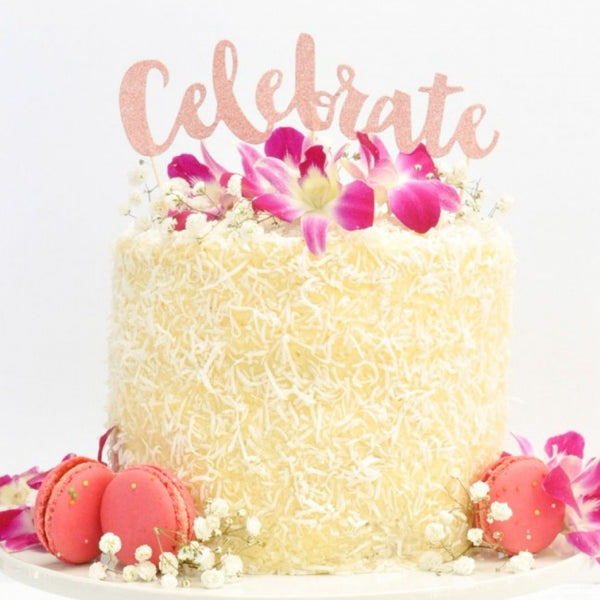 Rose Gold Glitter 'Celebrate' Cake Toppers